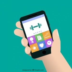 Cartoon of fitness, productivity, and safety iPhone apps